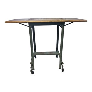 Vintage Industrial Green Wood Top Typewriter Table with Drop Leaf