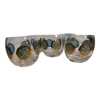 Mid-century Modern Gold/turquoise Highball Glasses - Set of 5 For Sale