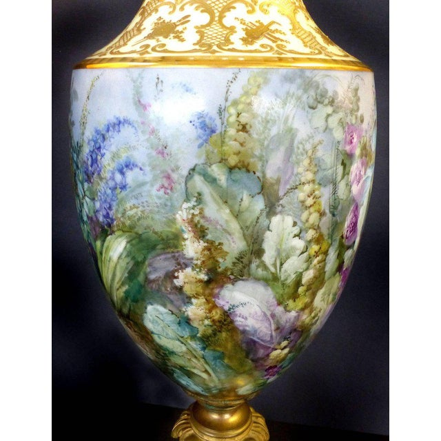 19th Century Hand-Painted Sevres Covered Urn Mounted in Gilt Bronze, Signed For Sale - Image 4 of 11