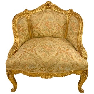 Louis XV Style Gilt Gold Armchair, Slipper or Bergere Chair For Sale