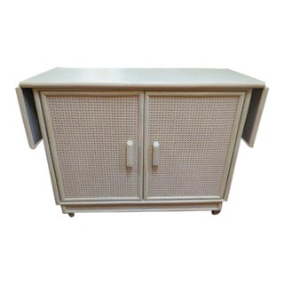 1960s Mid Century Modern Cane Covered Cream Bar Cart/Server For Sale