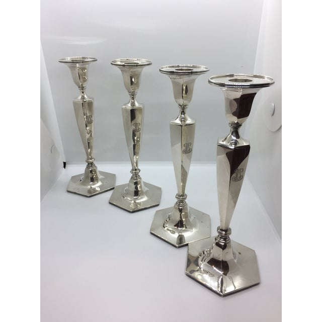 Tiffany & Co. Classic Six Sided Sterling Silver Candlesticks - Set of 4 For Sale - Image 10 of 11