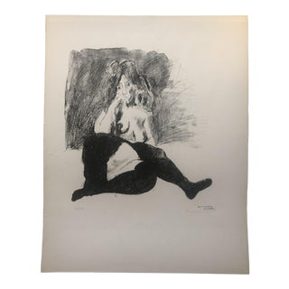 """Raphael Soyer """"Nude in Tights"""" Lithograph C. 1960s For Sale"""