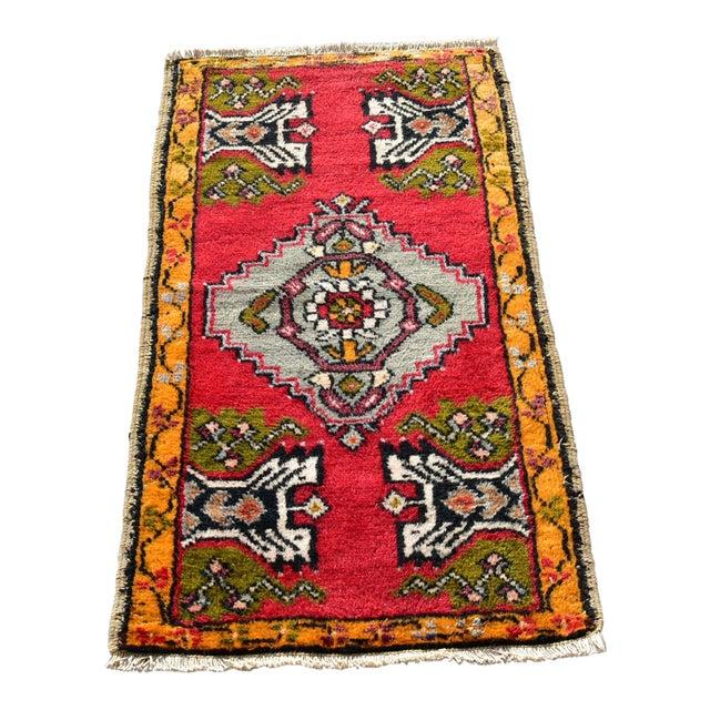 Vintage Turkish Anatolian Handmade Carpet - 2x3 Ft For Sale