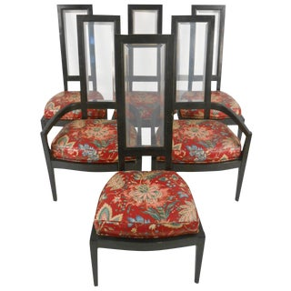 1970s Vintage Highback Dining Chairs - Set of 6