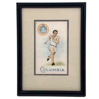 1910 Framed Columbia University Track Athlete Murad Tobacco Silk, Framed For Sale