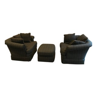 Modern Mini-Sofas and Ottoman- 3 Pieces For Sale