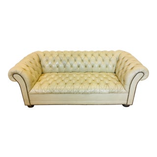 Vintage Cream Colored Chesterfield Sofa For Sale