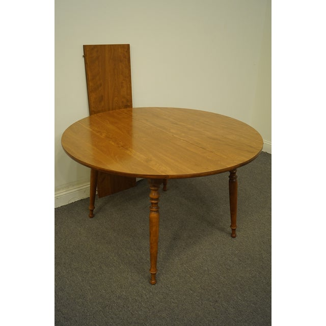 "Wood Vintage Ethan Allen Heirloom Nutmeg Maple 29"" Round Drop Leaf Dining Table For Sale - Image 7 of 12"