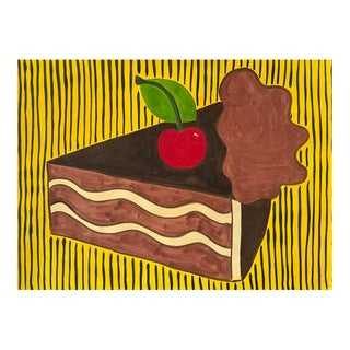 Contemporary Painting, a Piece of Cake With a Cherry on Top For Sale