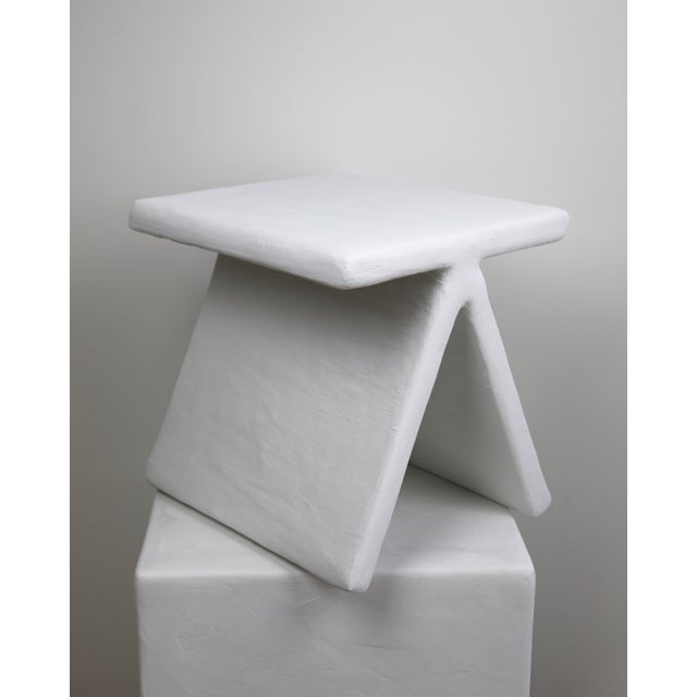 Mid-Century Modern The Elsa Geometric Plaster Accent Table For Sale - Image 3 of 5