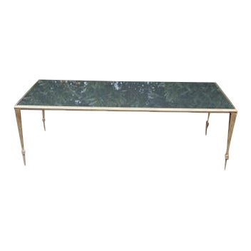 Maison Janson Style Brass Coffee Table With Smoked Glass For Sale
