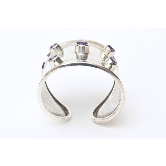 Sterling Silver and Amethyst Hallmarked Modern Cuff Bracelet For Sale - Image 4 of 10
