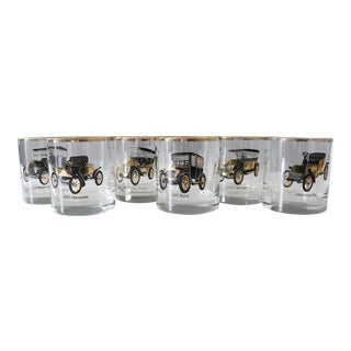 Antique Mid Century Car Lowball Glasses - Set of 6