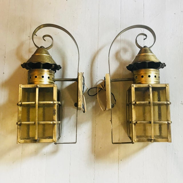 1990s 1990s Vintage Outdoor Brass Lanterns - A Pair For Sale - Image 5 of 5