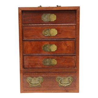 Vintage Japanese Brass Small Trinket Box Wooden Chest of Drawers