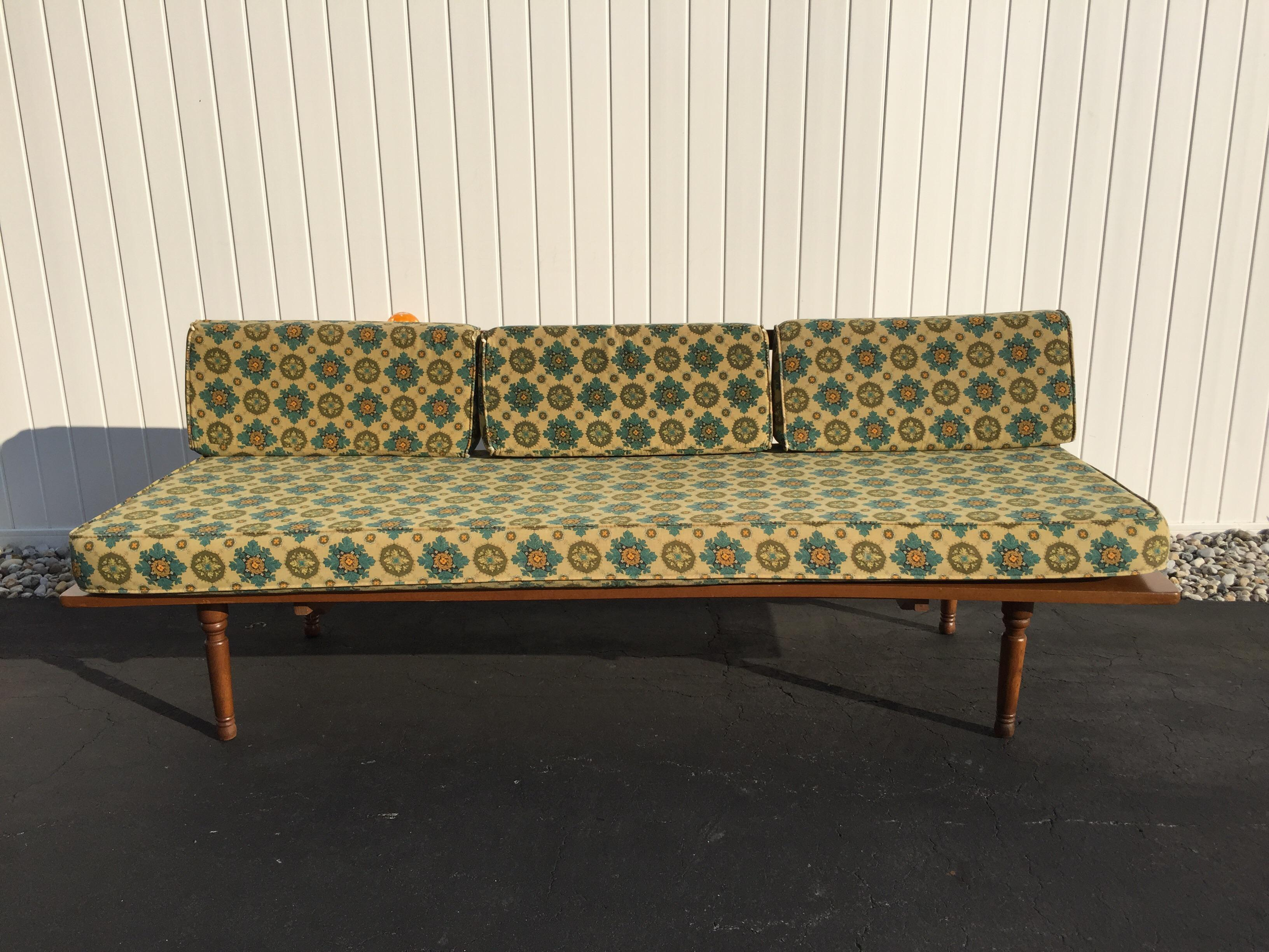 Mid Century Armless Sofa Or Daybed With Removable Cushions By Douglas Eaton.  Features Wood