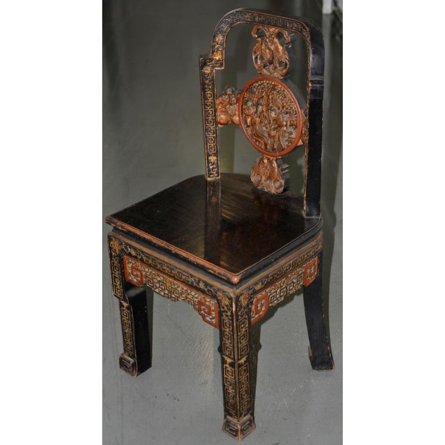 Asian 19th Century Carved & Painted Chinese Side Chair For Sale - Image 3 of 13