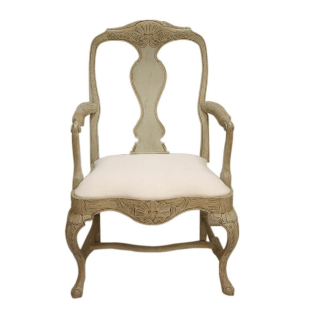 Wood Swedish Rococo Dining Armchair For Sale - Image 7 of 7