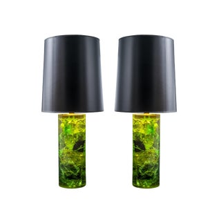 Vintage Green Resin Table Lamps With Black Lacquered Shades - a Pair For Sale