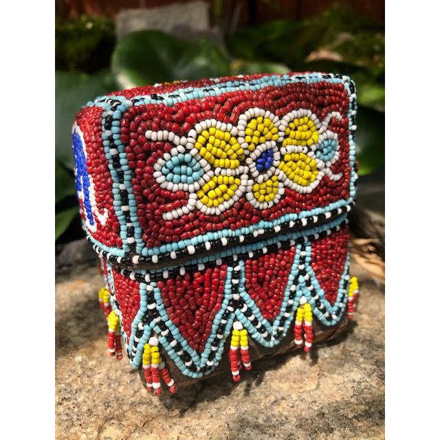 Vintage Red Elephant Indonesian Hand Beaded Basket With Lid For Sale In Atlanta - Image 6 of 11