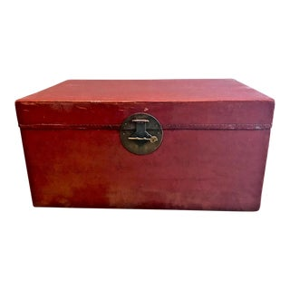 Large Chinese Lacquered Pigskin Trunk For Sale