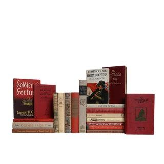 Red & Tan Coastal Collection - Set of Twenty Decorative Books For Sale
