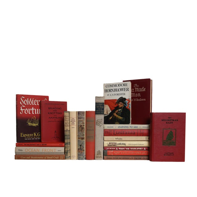 Red & Tan Coastal Collection - Set of Twenty Decorative Books For Sale