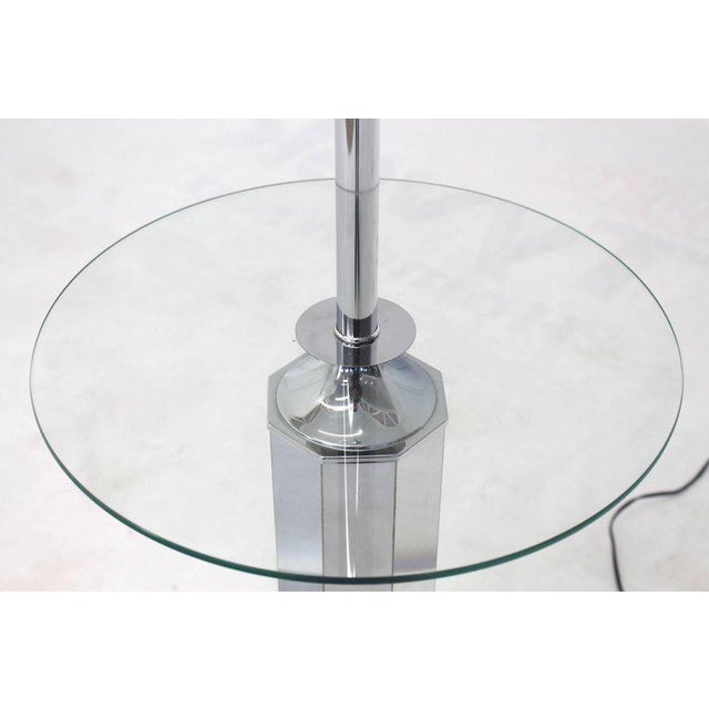 Mid-Century Modern Chrome and Glass Floor Lamp Round Side Table For Sale - Image 3 of 5