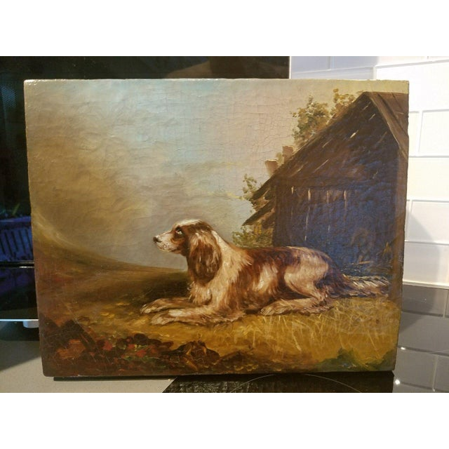 19th C. English Springer Spaniel Dog Painting For Sale In Miami - Image 6 of 7