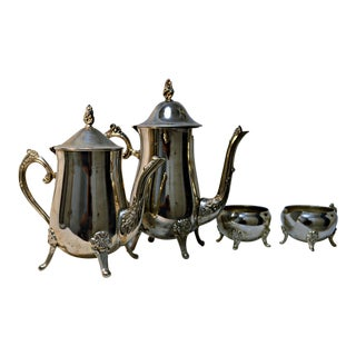 Silver Plated Coffee & Tea Set - 4 Pieces For Sale