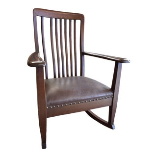 Antique Mahogany Leather Upholstered Rocking Chair For Sale
