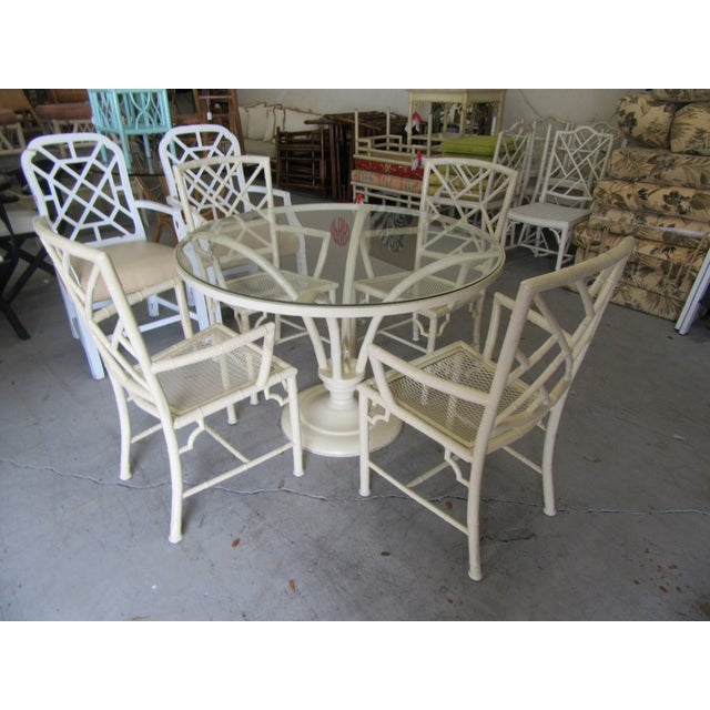 White Chippendale Meadowcraft Aluminum Patio Set - 5 Pieces For Sale - Image 8 of 9