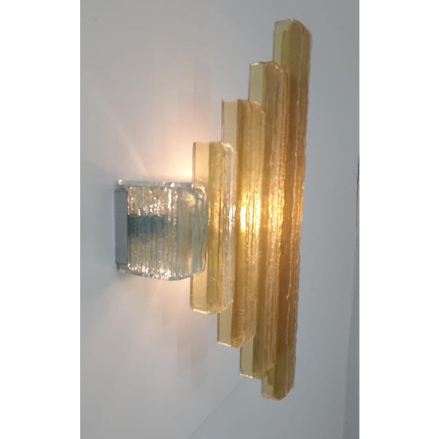 Murano Glass Icicles Stacked Sconces by Poliarte - a Pair For Sale - Image 9 of 9