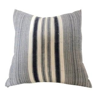 Vintage Hmong Hemp Blue Striped Throw Pillow For Sale