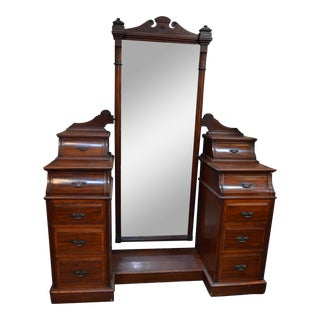 Antique Victorian Vanity Dresser With Full Length Dressing Mirror and Drawers For Sale