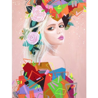 """Geometries Ii"" Large Original Pop Art Portrait Painting by Sally K"
