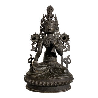1970s Indian White Tara Patinated Bronze Figure For Sale