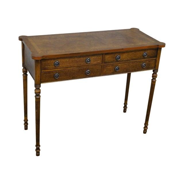 English Burl Walnut Sheraton Style Console Table For Sale