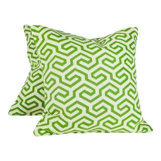 "22"" Down Filled Schumacher Ming Fret Pillows, Pair For Sale"
