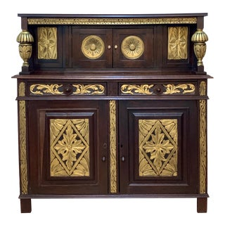 Charles I Carved Ebonized and Gilt Wood English Court Cupboard For Sale
