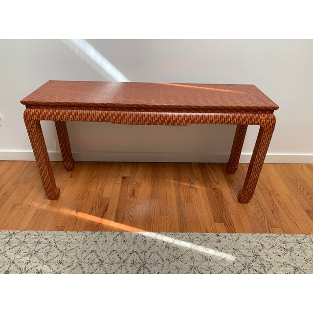 1970s Asian Style Baker Lacquered Grasscloth Console Table For Sale - Image 13 of 13