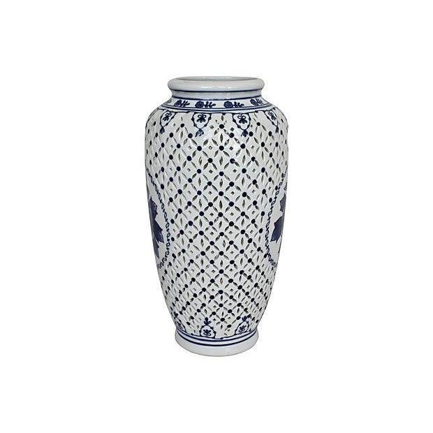 Blue & White Pierced Chinois Vase - Image 2 of 6