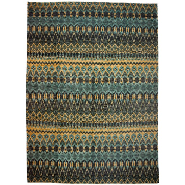 """New Ikat Hand Knotted Area Rug - 10' x 13'8"""" - Image 1 of 3"""