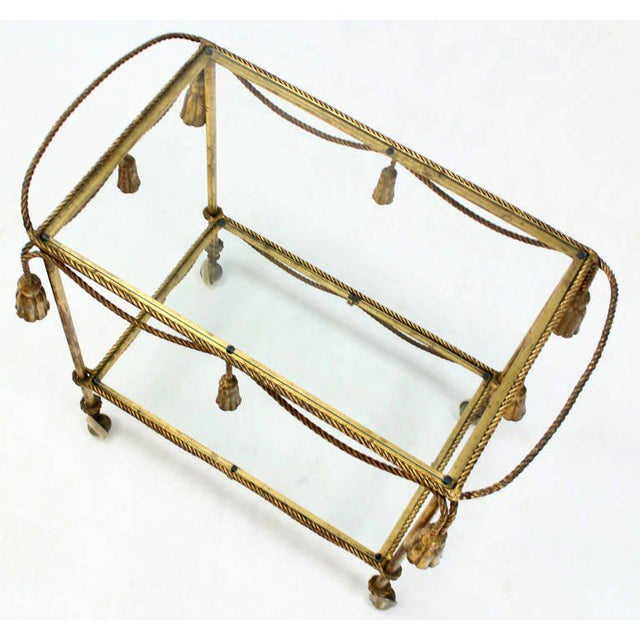 Midcentury Italian Gilt Metal Rope and Tassel Bar or Tea Cart For Sale In New York - Image 6 of 10