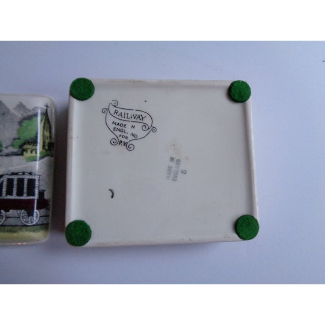 Vintage English Railway Porcelain Box & Dishes - Set of 4 For Sale In New York - Image 6 of 7