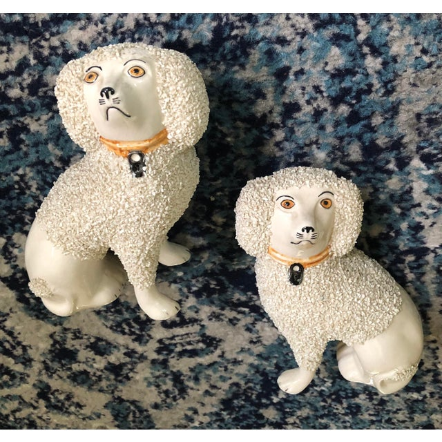 Antique White Antique Staffordshire Poodle Dog Figurines- a Pair For Sale - Image 8 of 13