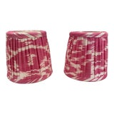 Image of Custom Lamp Sconce Shades in Pink Ikat Fabric - Pair For Sale