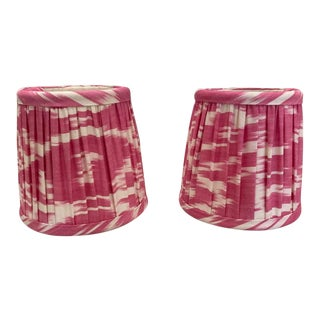 Custom Lamp Sconce Shades in Pink Ikat Fabric - Pair For Sale