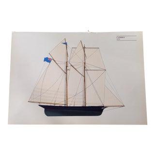 "Vintage ""Cambria"" Sailboat Print"